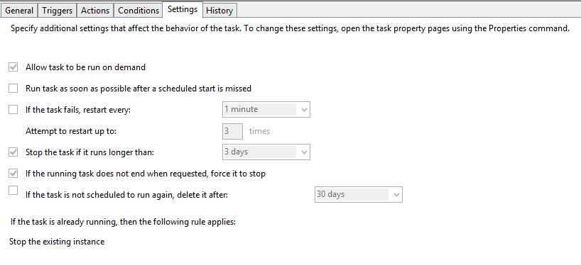 configuring windows task scheduler to run daily performance monitor